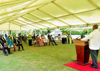 President Museveni at the 35th anniversary of the National Resistance Army (NRA) Liberation Day at State House in Entebbe